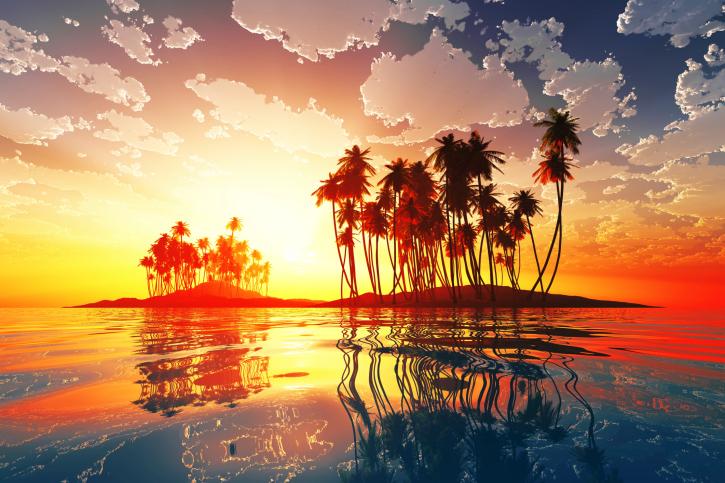 magic sunset in clouds